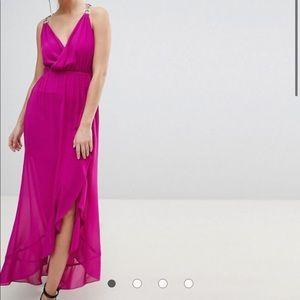 Morgan ASOS long sleeveless maxi purple dress